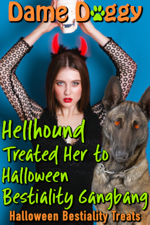 Hellhound Treated Her to Halloween Bestiality Gangbang